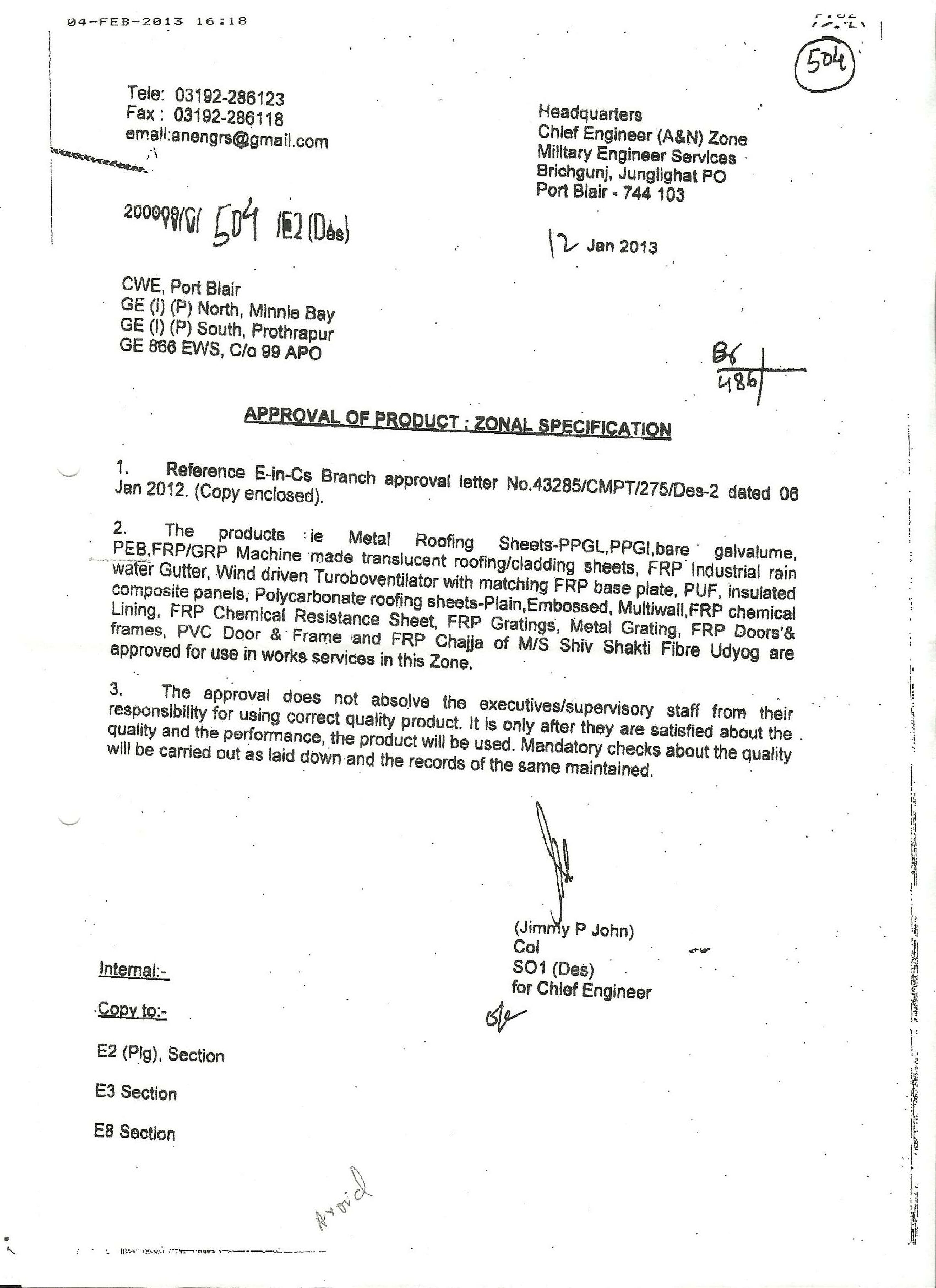 Mes Port Blair Zonal Approval Rooffit