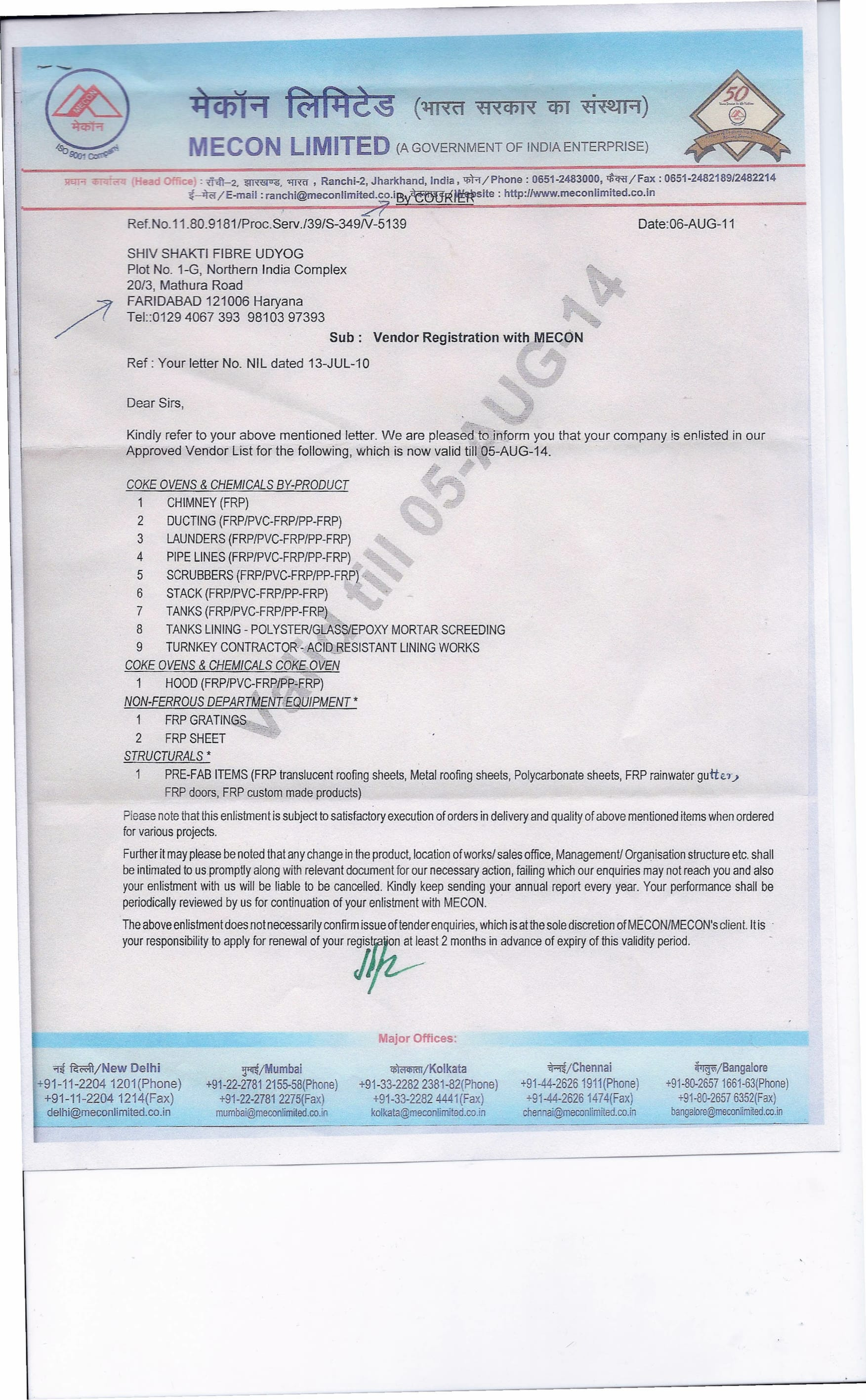 Mecon Approval Letter Rooffit